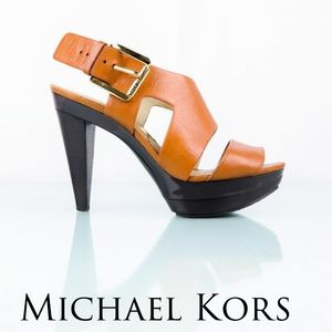 Michael Kors Carla Platform Taupe Leather Heels